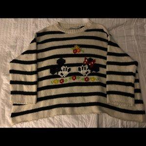 NWT Zara Disney Mickey Minnie Knit Sweater